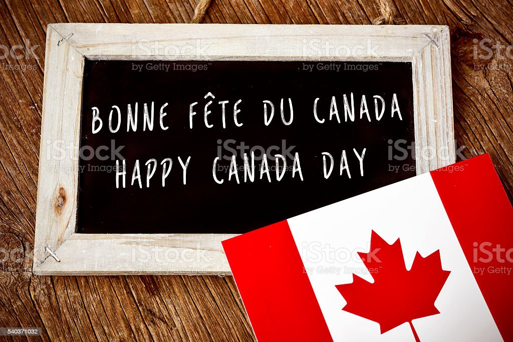text Happy Canada Day in French and English stock photo