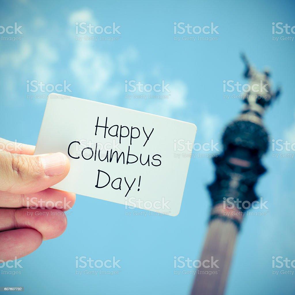 text Happy Columbus Day stock photo