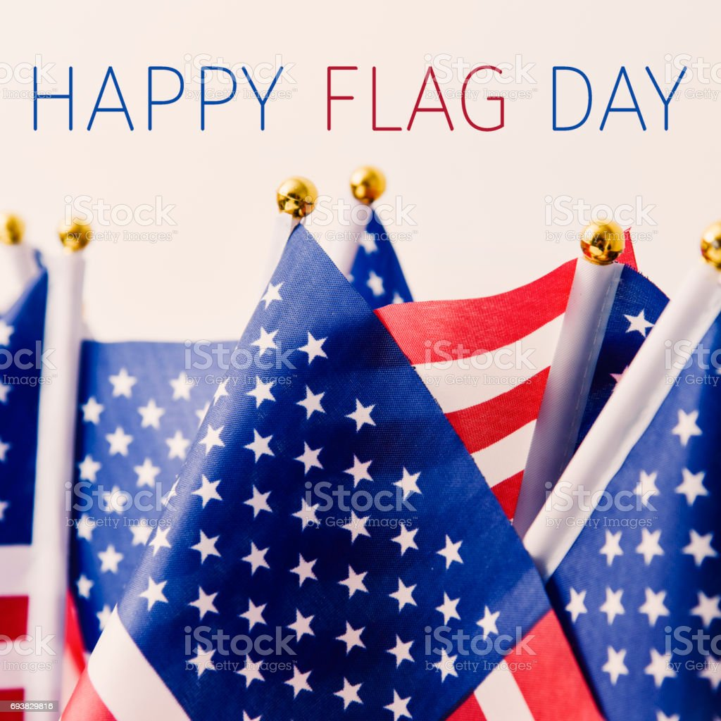 text happy flag day and american flag stock photo