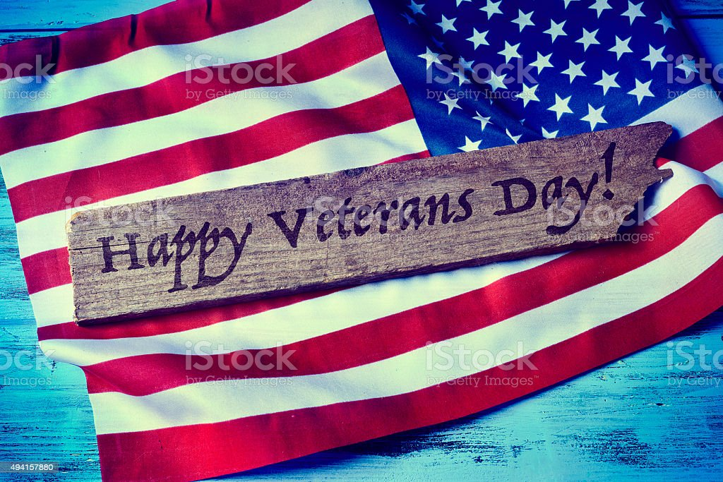 text happy veterans day stock photo