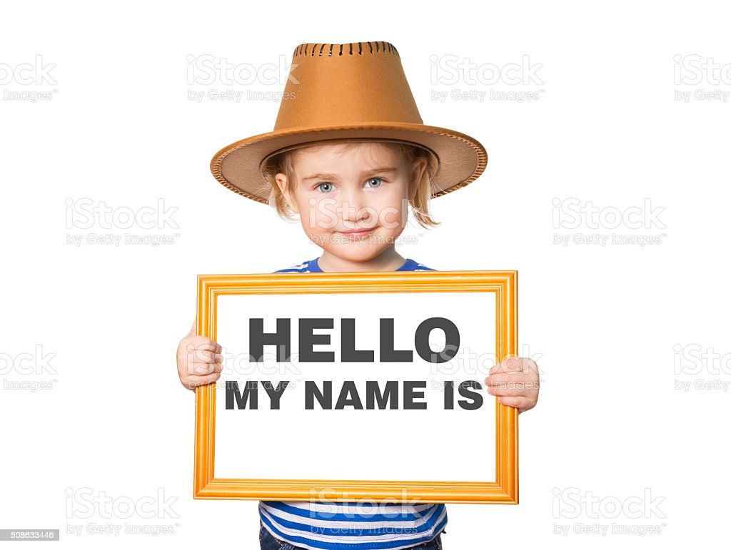 Text HELLO MY NAME IS. stock photo