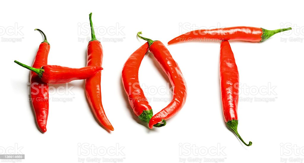 Text 'Hot' written by peppers royalty-free stock photo