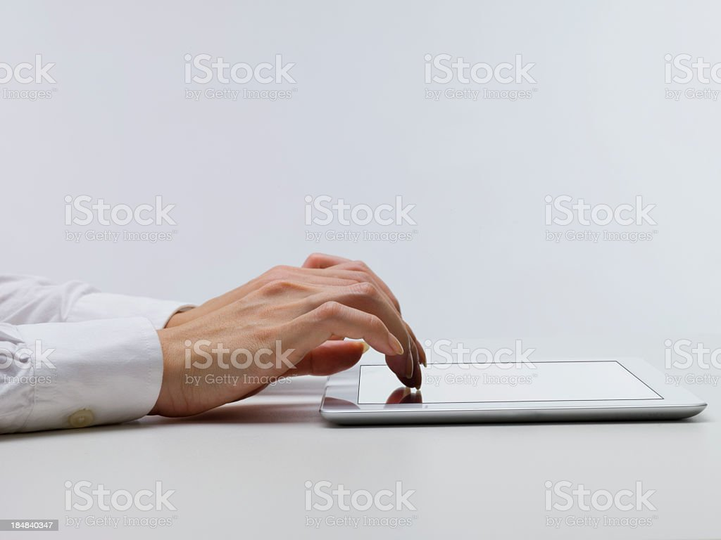 Text input on mobile tablet PC royalty-free stock photo