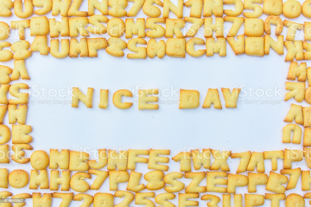 text made from bread and alphabet background stock photo