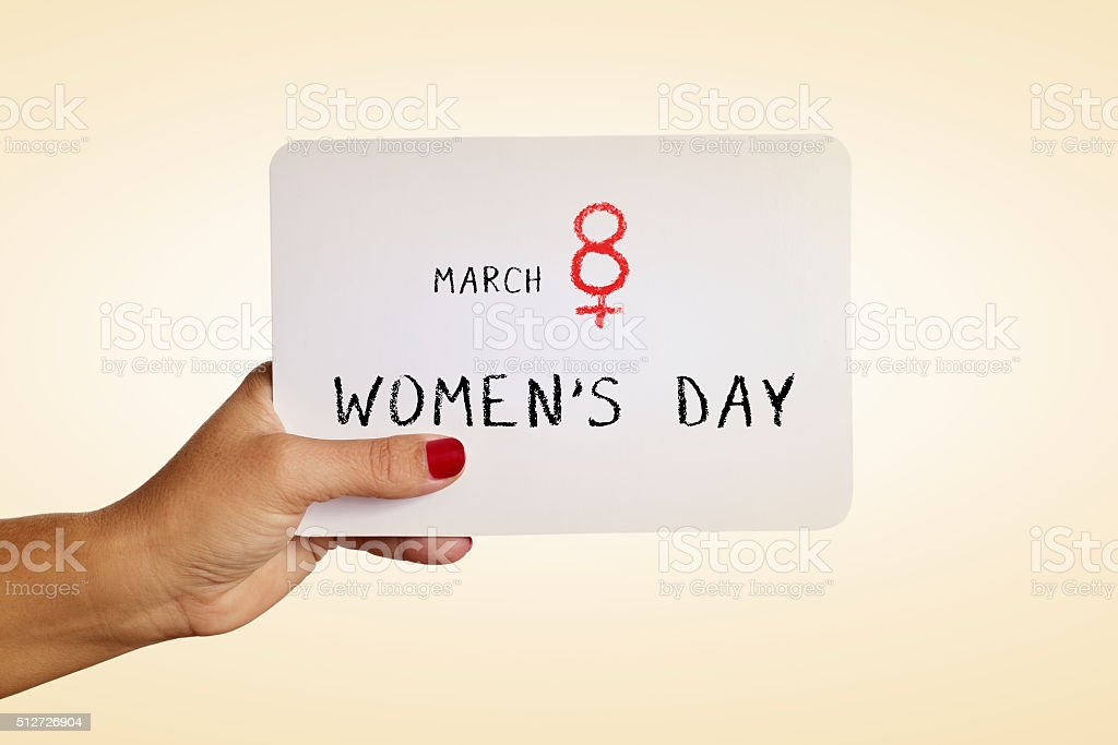 text march 8 womens day in a signboard stock photo
