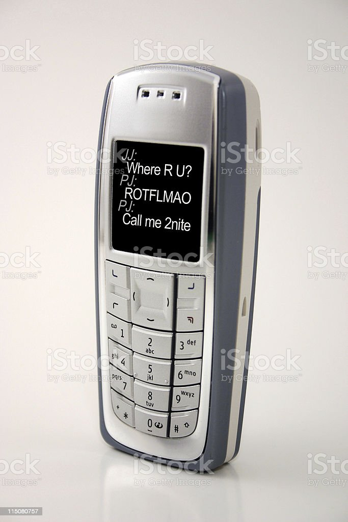 text message cellphone (IM on screen of cell phone) stock photo