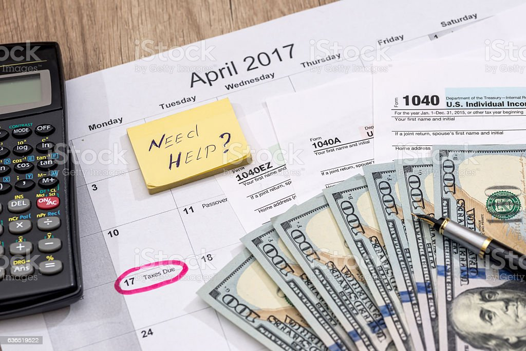 text 'need help' with tax form, money and calendar. stock photo