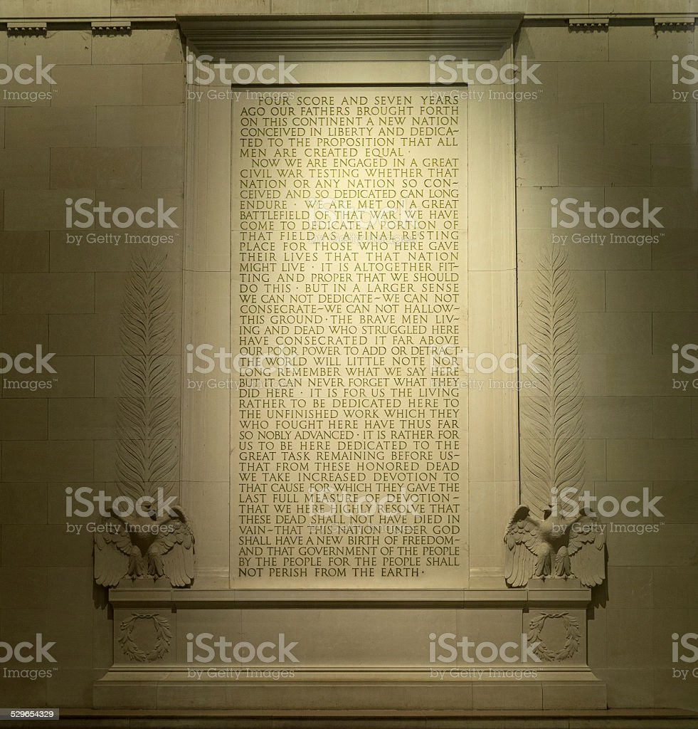 Text of Gettysburg Address at Lincoln Memorial in Washington, DC stock photo