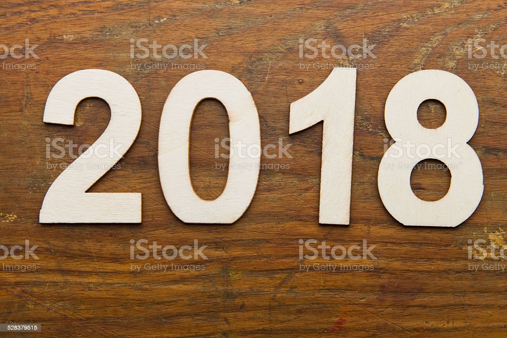 2018 text on plank wood XXXL stock photo