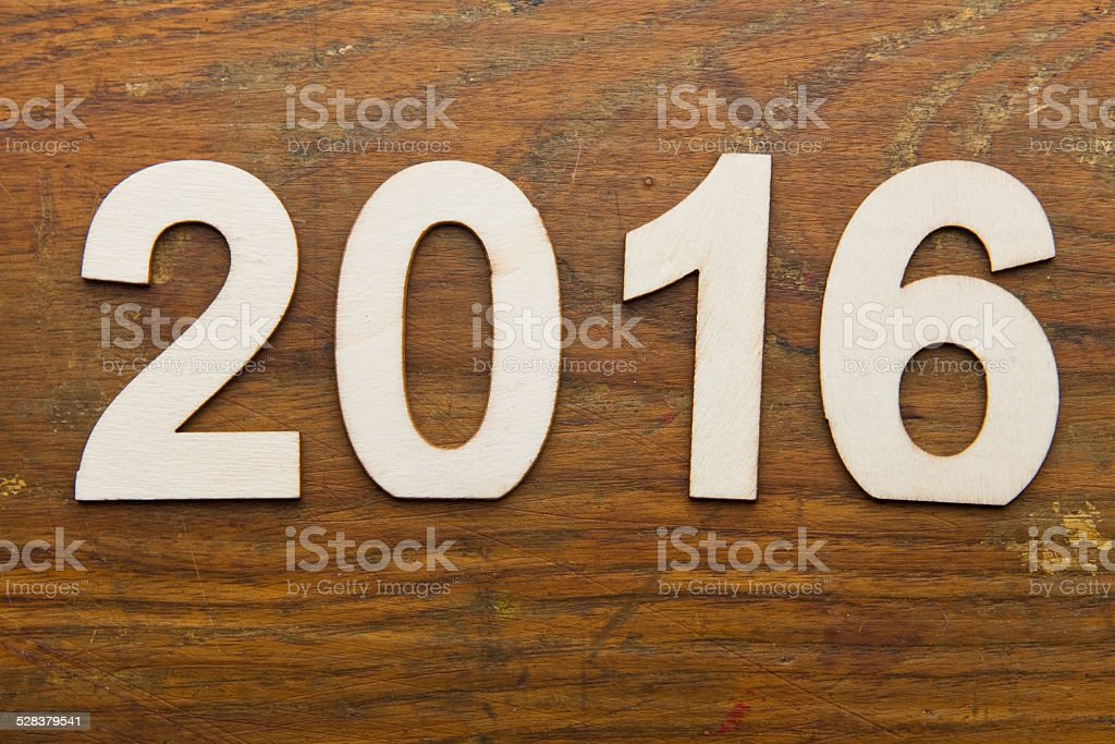 2016 text on plank wood XXXL stock photo