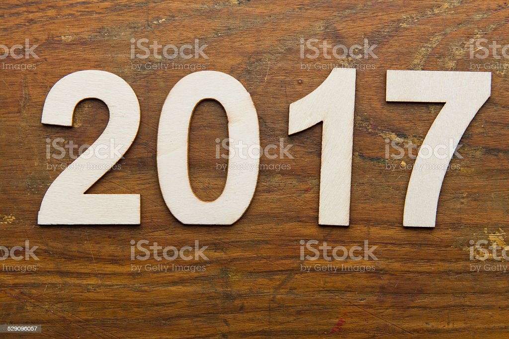2017 text on plank wood XXXL stock photo