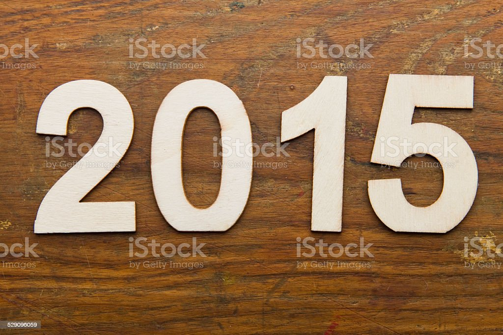 2015 text on plank wood XXXL stock photo