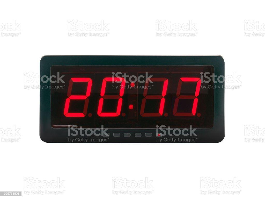 A.D. 2017 text on the digital clock face stock photo
