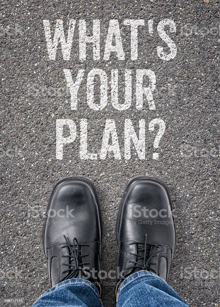 Text on the floor - Whats your plan stock photo