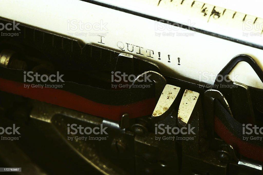 Text on Typewriter: I Quit! royalty-free stock photo