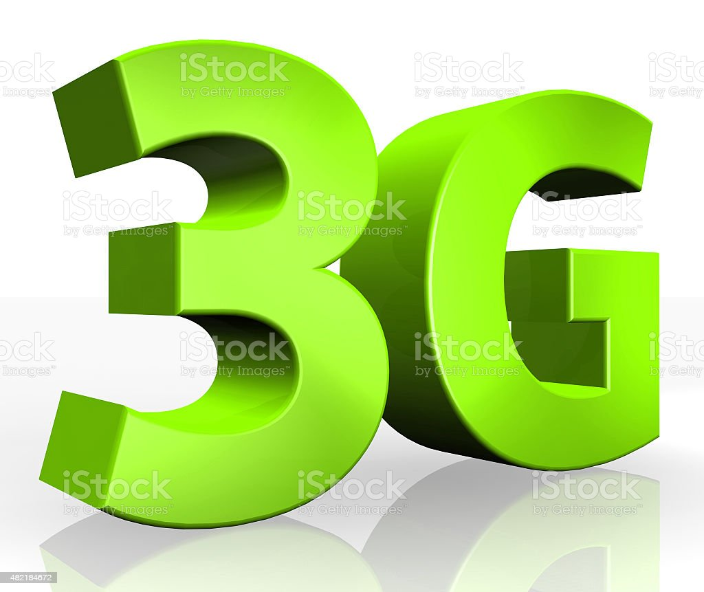 3D 3G text on white background stock photo