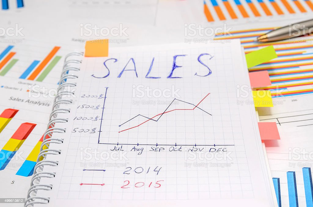 text sales at notebook with analytic graphs and charts stock photo