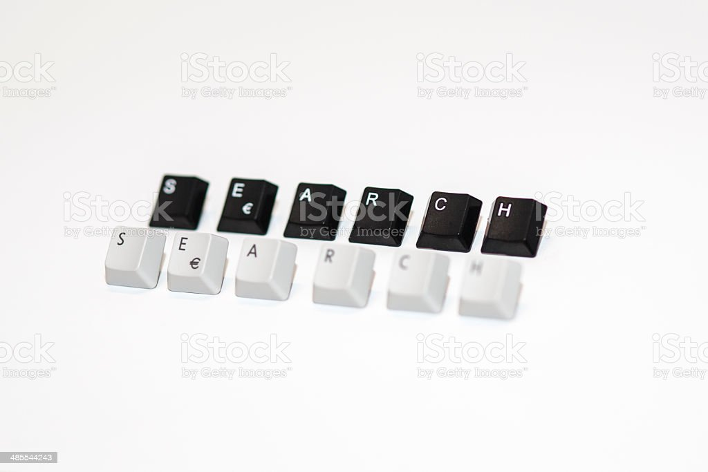 text search formed with computer keyboard keys on white background royalty-free stock photo