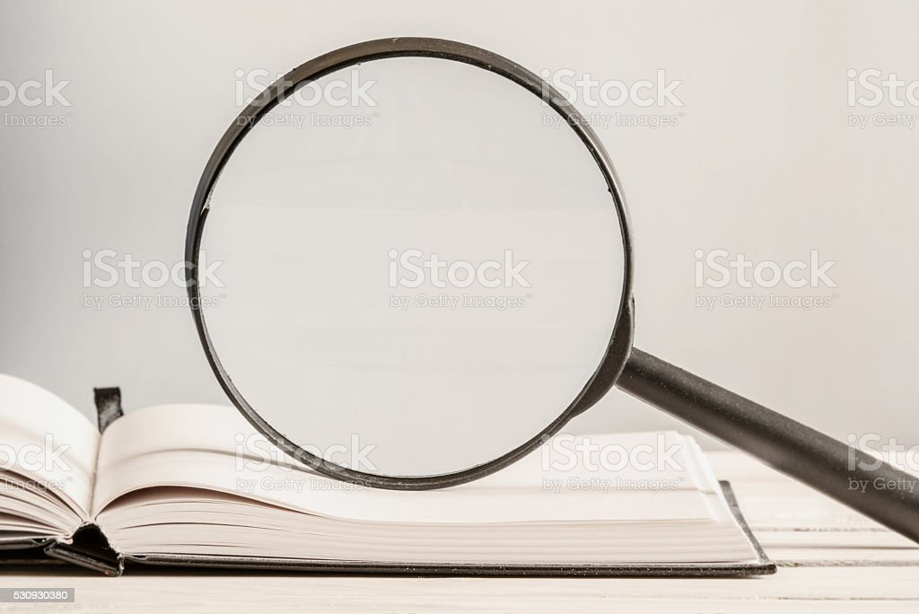 Text search in an open book stock photo