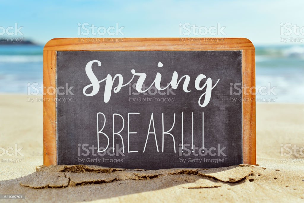 text spring break in a chalkboard on the beach stock photo