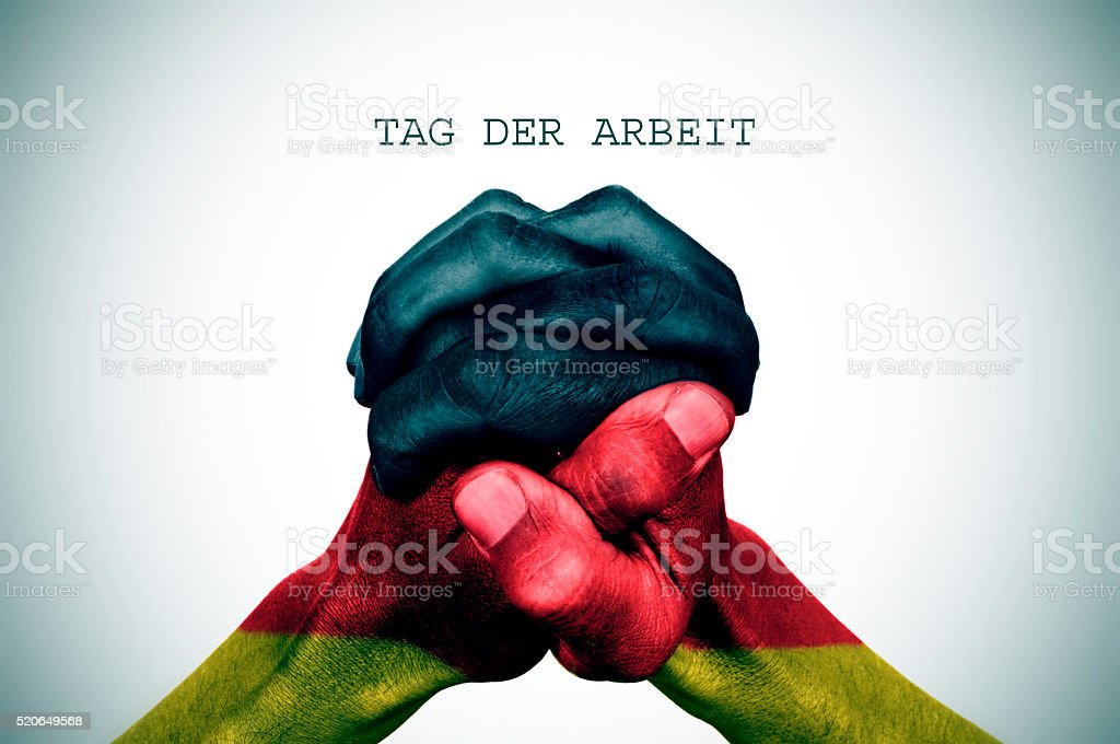 text tag der arbrit, labour day in German stock photo