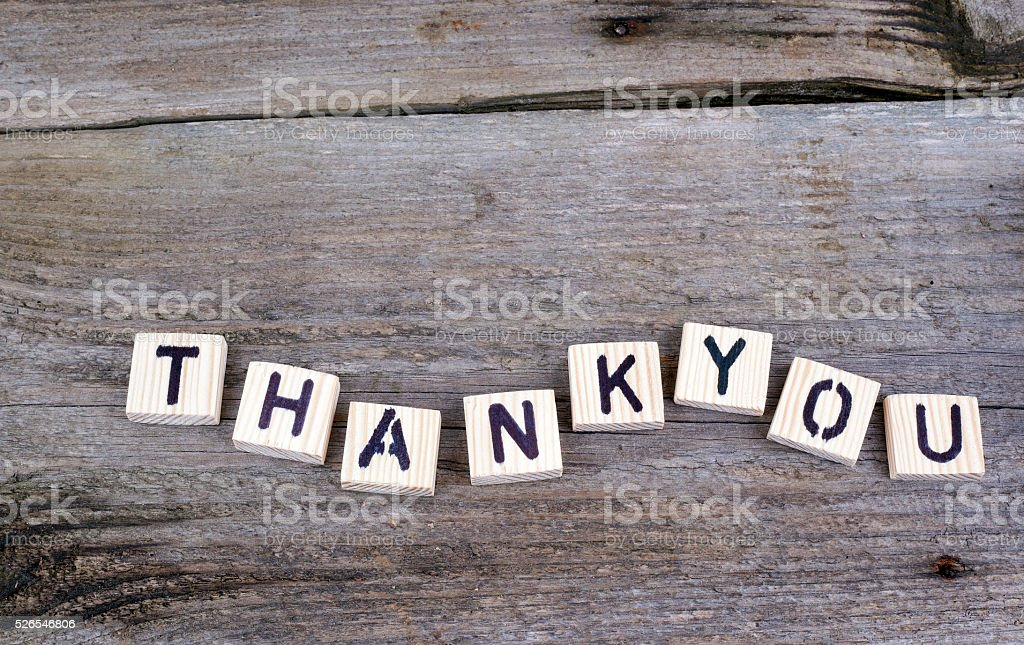 Text: Thankyou from wooden letters stock photo