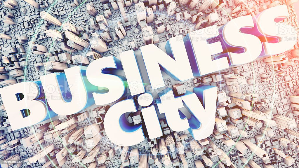 Text the word Business city lot at the center. stock photo