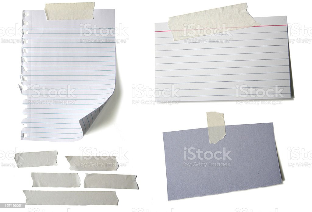 'Text Wanted' Blank Papers with Tape White Background stock photo