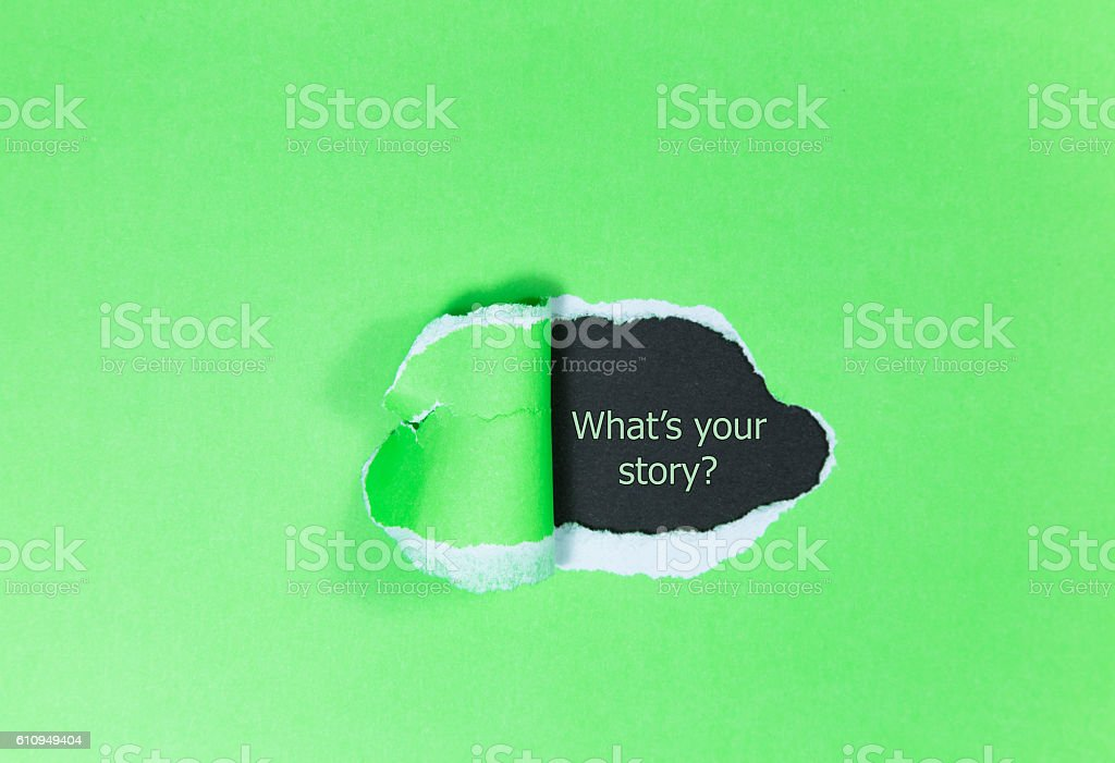 Text 'What's your story?' appears under the torn paper. stock photo