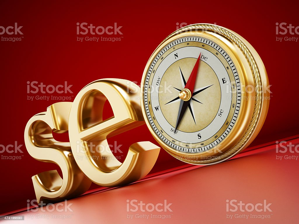 SEO text with a compass stock photo