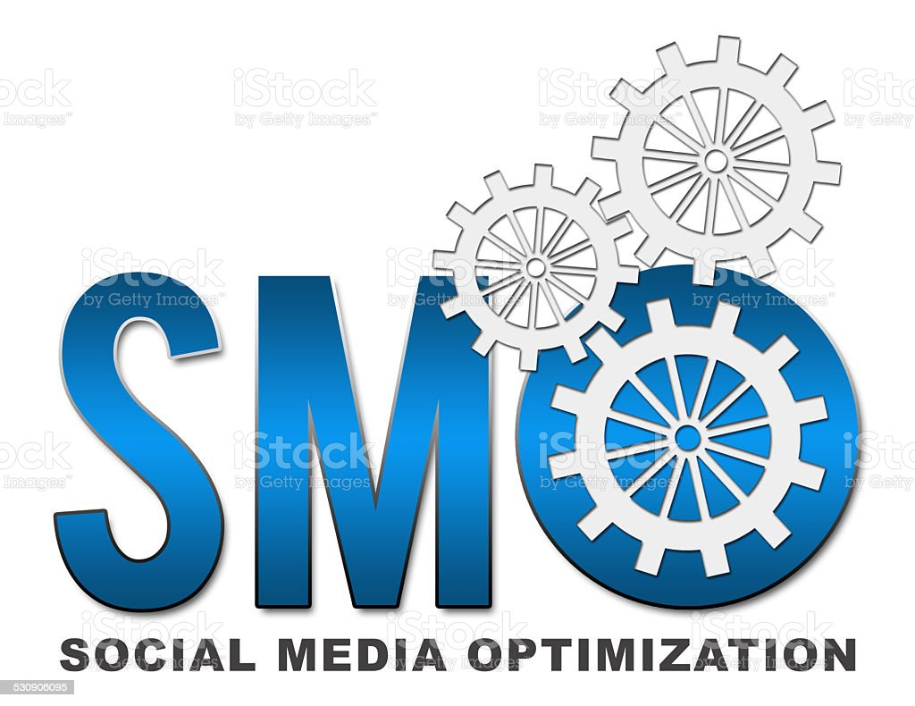 SMO text with gears stock photo