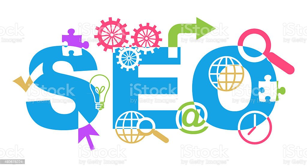SEO Text With Shapes Colorful stock photo