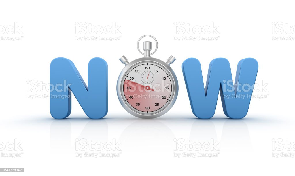 NOW Text with Stopwatch -3D Rendering stock photo