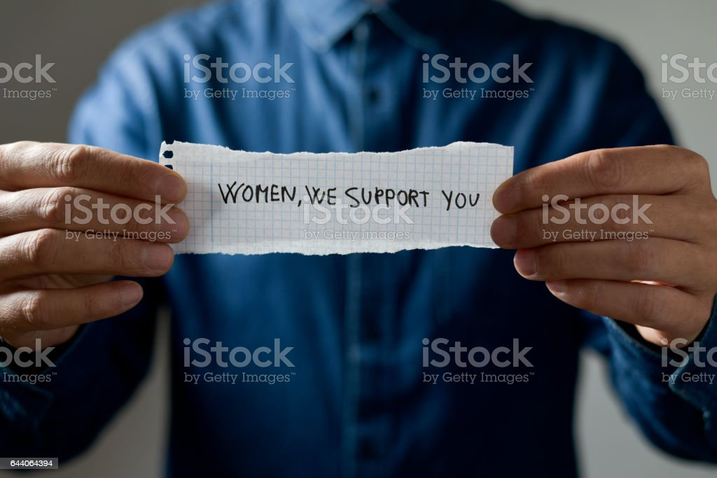text women we support you stock photo