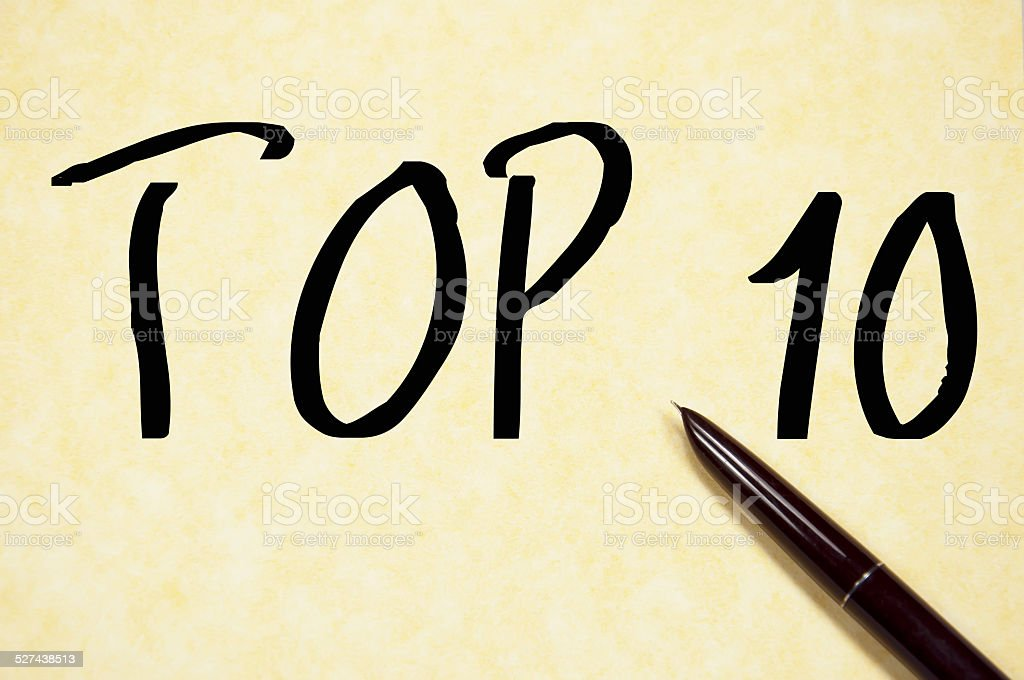 TOP 10 text write on paper stock photo