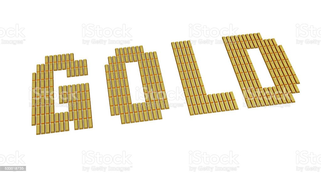 Text written in Gold Bars stock photo