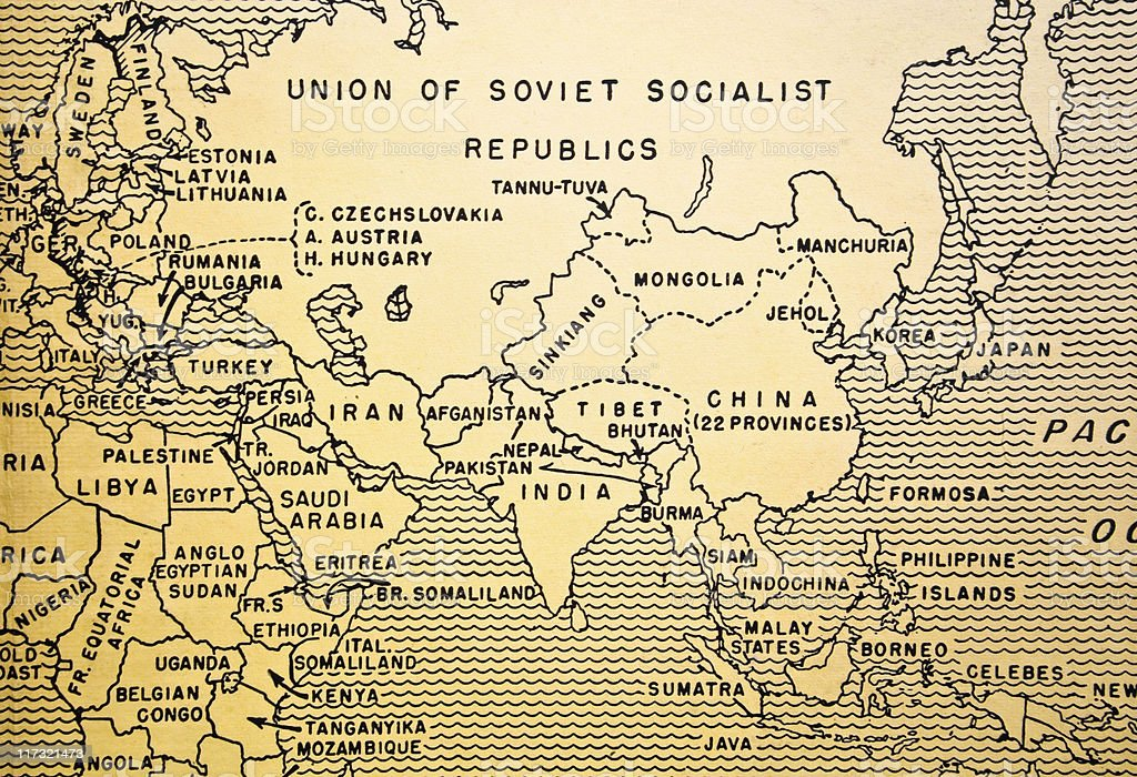 Textbook Map, Circa Late 1930s royalty-free stock photo