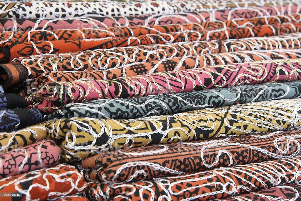 Textile at the street market royalty-free stock photo