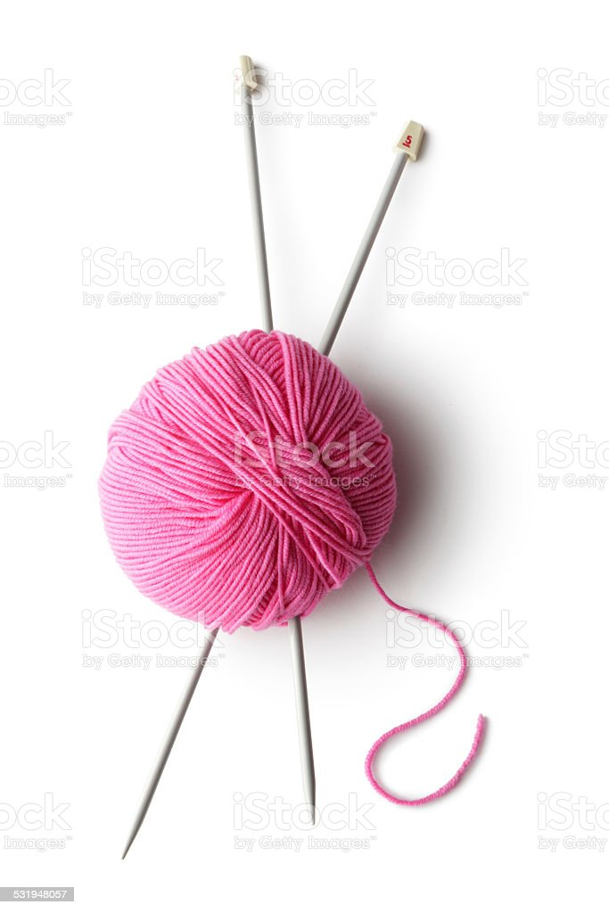 Textile: Ball of Wool and Knitting Needles stock photo
