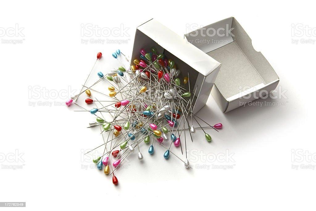 Textile: Box of Pins royalty-free stock photo