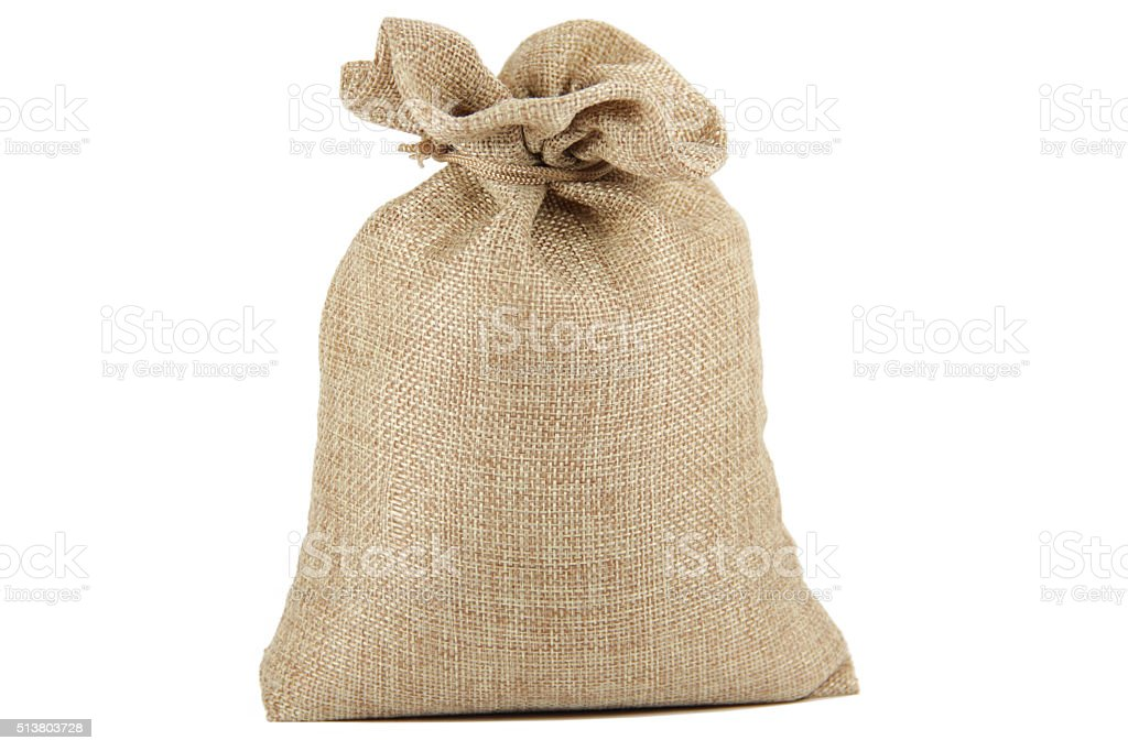 Textile - burlap sack isolated on white background stock photo