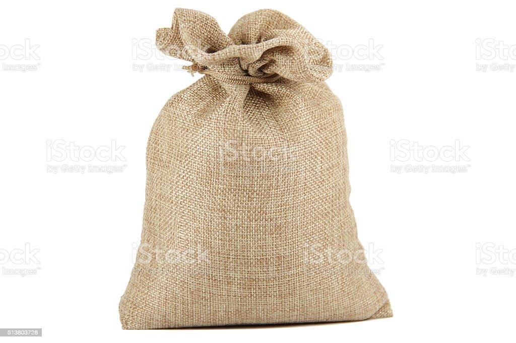 Textile - burlap sack isolated on white background stock photo
