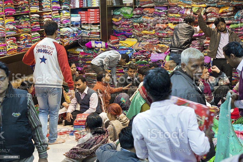Textile Buying Old Delhi, India stock photo