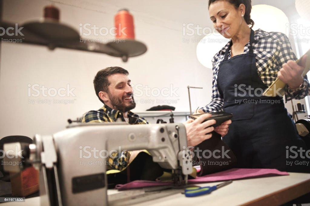 Textile designers at work stock photo