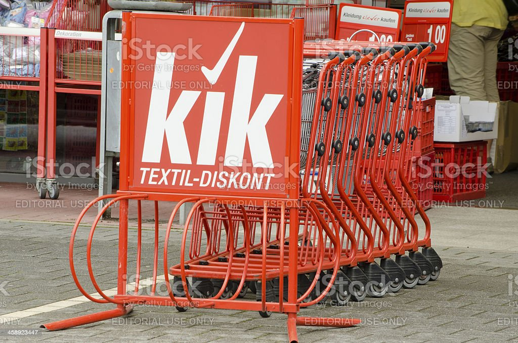 KIK Textil Discount Shopping carts royalty-free stock photo