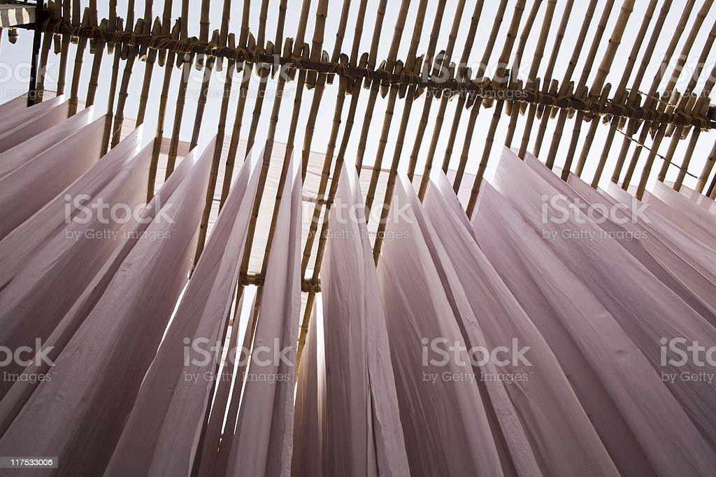 Textile drying stock photo