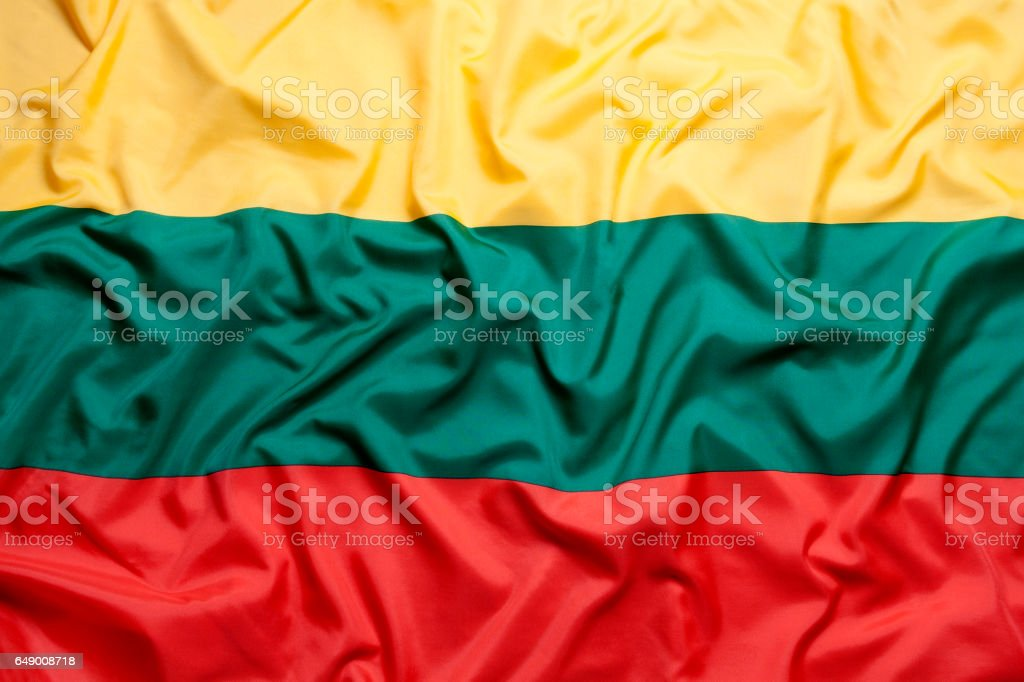 Textile flag of Lithuania stock photo