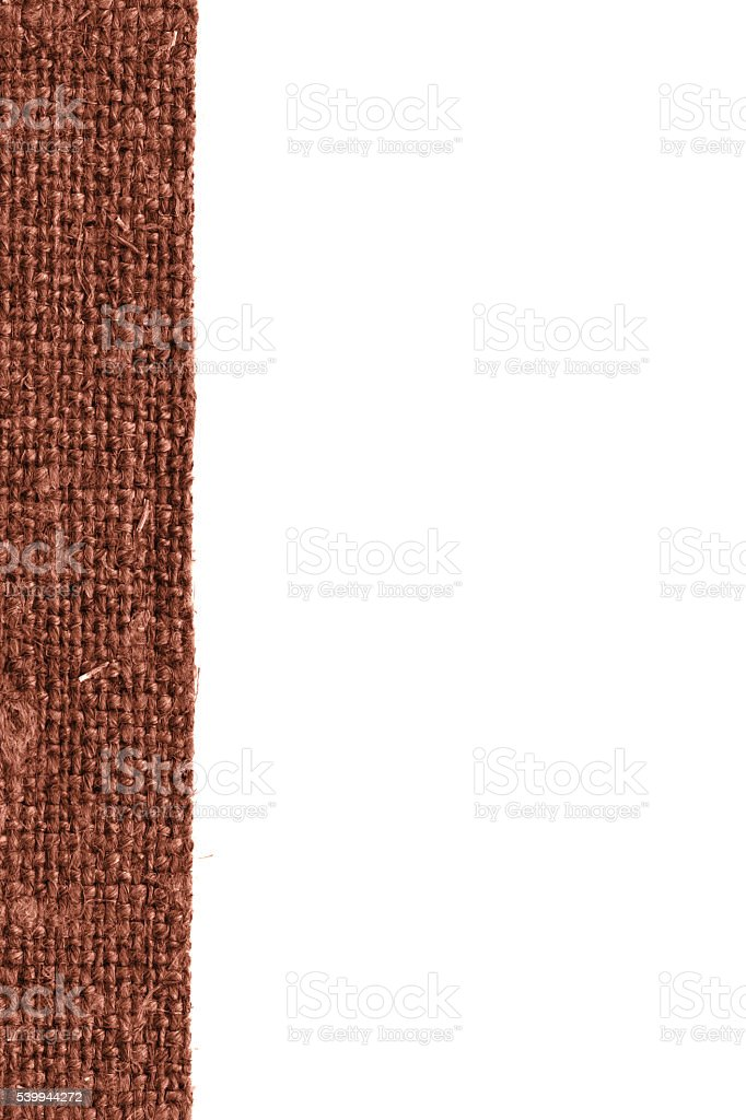 Textile frame, fabric interior, brown canvas, bag material, dirty background stock photo