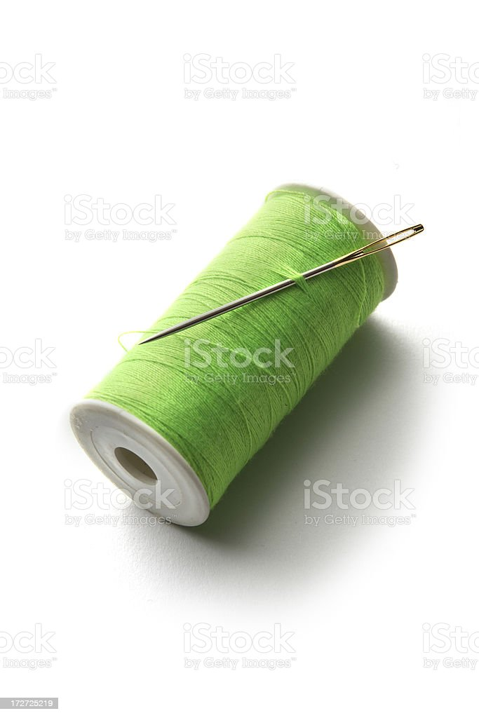 Textile: Green Thread royalty-free stock photo