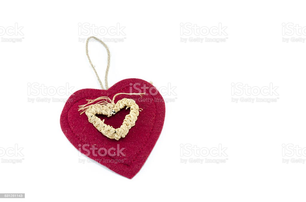 Textile heart isolated on white royalty-free stock photo